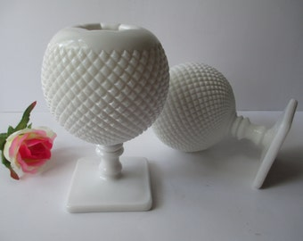 Vintage Westmoreland Milk Glass English Hobnail Ivy Ball Vase Pair