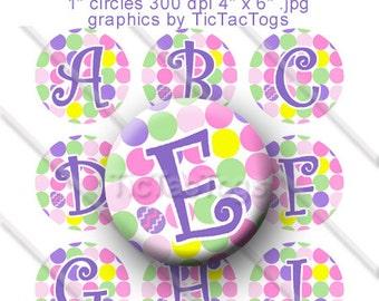 SALE -Easter Egg Polka dot Bottle Cap Digital Images Set 1 Inch Circle Alphabet Alpha A-Z Images 4X6 - Instant Download - BC437