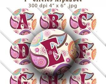 Paisley Multi Color Alphabet Bottle Cap Images Digital Collage Set 1 Inch Circle Digi - Instant Download - BC272