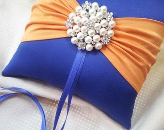 Cobalt Blue Orange Ring Bearer Pillow Ring Pillow Pearl Rhinestone Accent