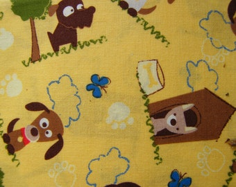 1 Fat Quarter Yellow dogs and Dogs Cotton  Fat Quarter