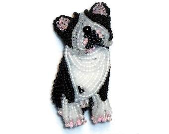Beaded BOSTON TERRIER pin pendant dog art jewelry / Ready to Ship/ Free US Shipping