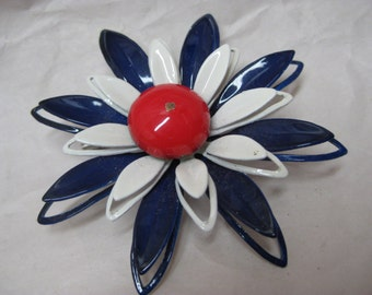Flower Enamel Red White Blue Brooch Vintage Pin