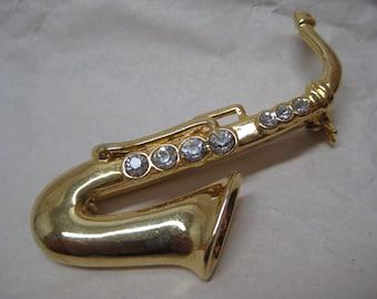 Saxophone Gold Brooch Rhinestone Pin Clear Horn Vintage