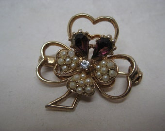 Shamrock Amethyst Gold Pearl Brooch Clear Vintage Pin Clover Purple