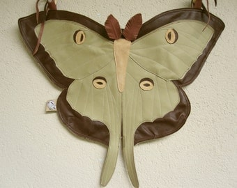 My Moon - Handmade Real Leather Butterfly Moth Actias Luna Bag with Adjustable Straps - One of a Kind