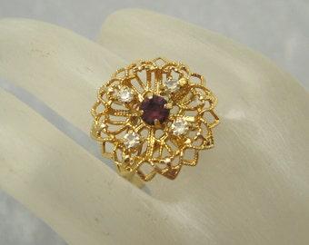 Filigree Vintage Ring Rhinestone Vintage Jewelry R5842
