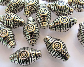 10 Embossed Silver Metalized Plastic Barrel Beads 34X18mm