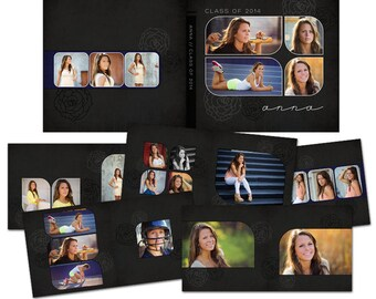 Anna 10x10 Photo Album for Seniors, Weddings, Families, and More - 11 Files - Photoshop Templates for Photographers - AS2003