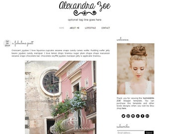 Premade Blogger Template - ALEXANDRA ZOE - Mobile Responsive - Graphic Design - Blog Template