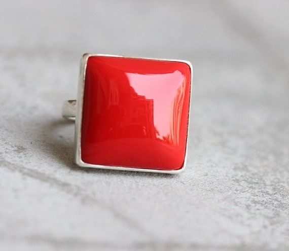 Red Coral Ring - Square ring - Bezel ring - Red ring - Gemstone ring - Sterling silver ring - Gift for her