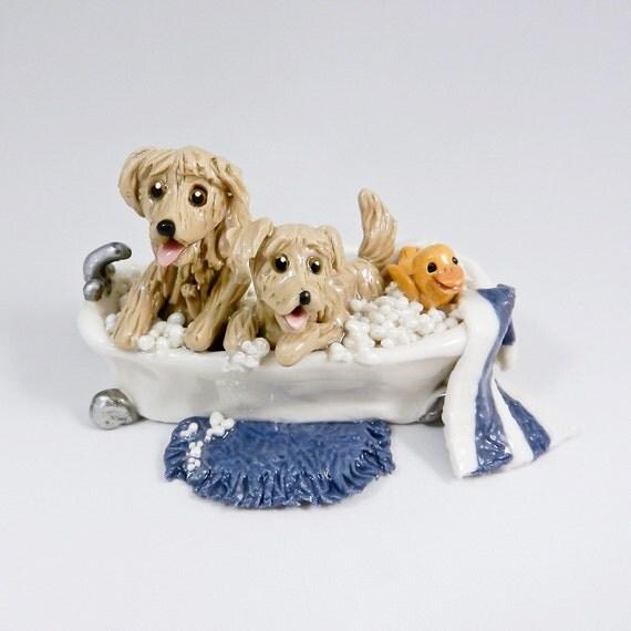Dogs golden retriever bathtub sculpture figurine dollhouse scale ooak