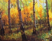 October Season 24x36 Original LARGE Acrylic Painting Impressionism forest nature Aspens Birch trees