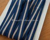 3 yards Striped Belting- Vintage Trim Juvenile 70s 80s New Old Stock Preppy Navy Tan (Reserved)