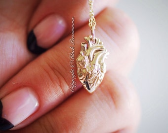 Your Heart is the Most Important Necklace No. 1 - Natural Bronze Anatomical Heart Charm - Insurance Included