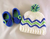 Cutie Patootie White, Lime Green, and Royal Blue chevron beanie and bootie set Seattle Seahawks colors