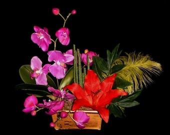 Zen Asian Couture Silk Flower Arrangement, Magenta Orchids, Red Lily, Yellow Ostrich