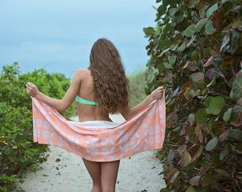 Coral Seashell Organic Cotton Scarf Sarong