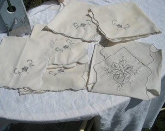 Embroidered Linen Napkins and Hot Roll Biscuit Cozy Cover in Ecru – Off-White with Gray Floral and edging