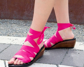 Mid Wedge Ribbon Thong Sandal by Mohop | Handmade Vegan Shoes with 5 Interchangeable Ribbons