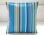 blue stripe pillow cover, green yellow turquoise navy 14 inch / 16 inch decorative cushion cover