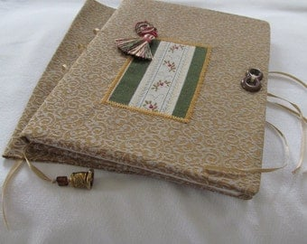 Sangria Floral Cypress Stripe Gold Jacquard Fabric Book Cover and Journal Set