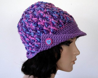 Crochet Textured Newsboy Button Bill Cap Hat Pink Lavender Blue