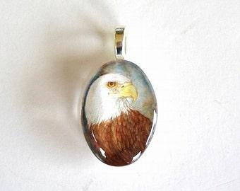 American Bald Eagle Small Glass Pendant School Mascot Art