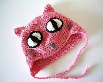 Crochet Hat: Pink Cat with Large Eyes Child Young Teen size