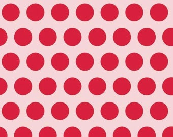 Pink and red dots euro knit import 1/2 yard