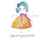 Original watercolor paintings variety set  notecards princess whimsical cards encouragement birthday gift graduation teacher gift