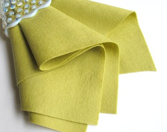 Yellow Green, Wool Felt Sheet, Choose Size, Large Felt Square, Pure Merino Wool, DIY Craft Supply, 100% Wool, Felt Fabric, Wool Applique
