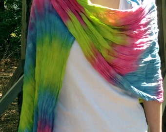Hand Dyed Woven Cotton Shawl Wrap Pareo Lime Blue Pink