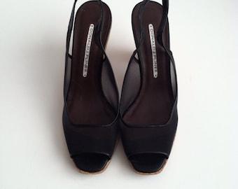 SALE Vintage Black Mesh Sandals Cork size 6.5