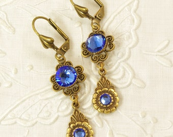 Antiqued Brass Drop Earrings with Sapphire Blue Rhinestone Centers