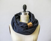 Leather  Navy stripe linen circular infinity scarf