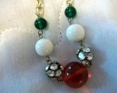 Very Large and Long Necklace  Red, Green White, Simulated Pearls Rhinstone Imbedded Beads