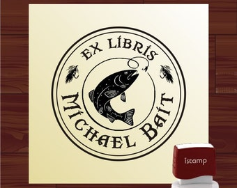 FROM The LIBRARY Of Stamp Fly Fishing Book Plate Stamp Ex Libris Custom self inking stamp - style 1579