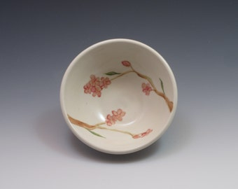 Small pottery bowl, pottery prep bowl, porcelain bowl, handpainted in pink cherry blossoms