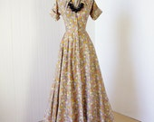 on HOLD vintage 1940's dress ...pretty POLISHED COTTON floral full skirt tea length maxi pin-up dress
