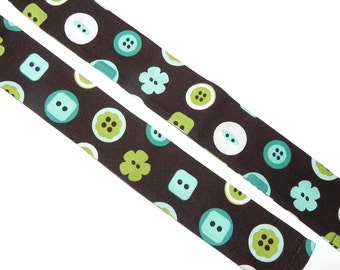 Big Blue and Green Buttons Neck Cooler Cool Tie Scarf in Cotton with Expanding Crystals