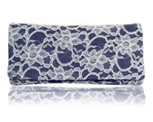 Navy and ivory lace bridal wedding ASTRID clutch purse, bridesmaids gifts, mother of the bride