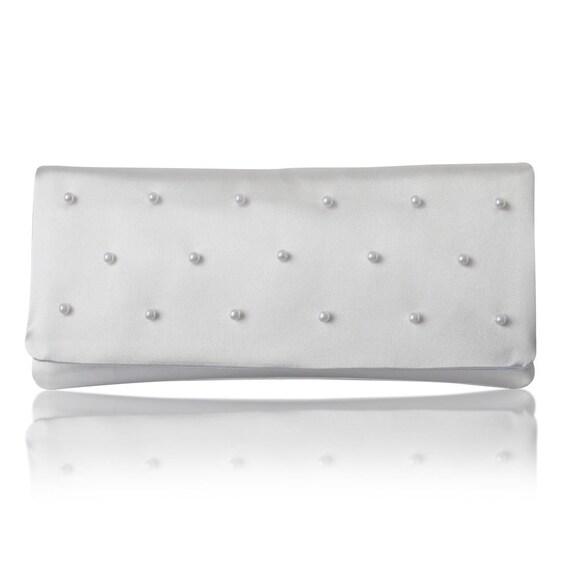 Ivory and pearl satin beaded wedding bridal clutch purse SOPHIA