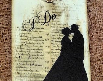 I Do Bride Groom Silhouette Wedding or Shower Favor Gift  or Scrapbook Tags or Magnet #656