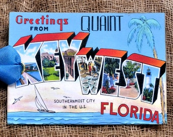 Greetings From Key West Florida Large Letter Souvenir Postcard Gift or Scrapbook Tags or Magnet #G 11