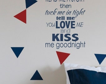 Read me a story Love kiss tuck me goodnight banner  Vinyl Decor Wall Subway art Lettering Words Quotes Decals Art Custom Willow Creek Signs