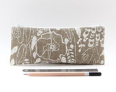 Organic Linen Pencil Case, Small Valentine's Gift for Her, Poppy Small Zipper Pouch, Cute Pencil Case for Girls, Gift for Girlfiend