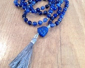 Hand Knotted Mala, Blue Agate w/ Magnasite Buddha