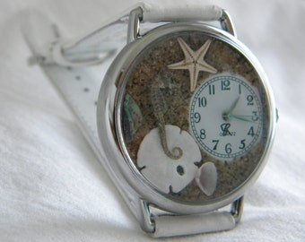 Seahorse Watch with Starfish Abalone Sand Dollar and Apple Blossom Shell