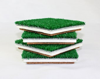 Man Cave Decor, Football coasters, Sports Fan, Golf, Soccer, Baseball, Set of 4, Featured in PEOPLE Magazine